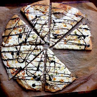 White Pizza with Goat Cheese, Fresh Mozzarella & Balsamic Glaze.