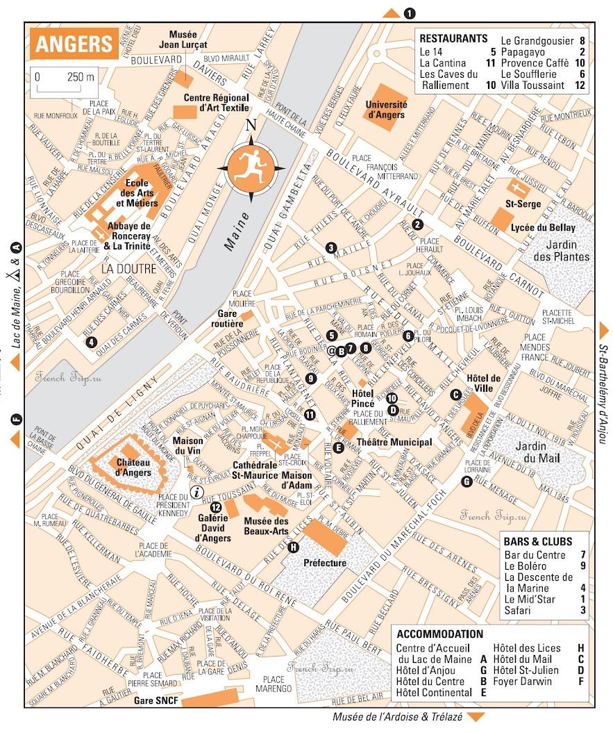 Рекомендованные рестораны Анже на карте города