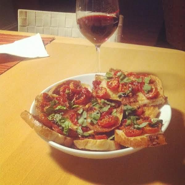 Roasted Grape Tomato And Basil Crostini