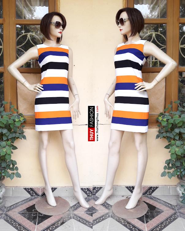 Váy suông kẻ ngang sắc màu V317 thời trang thủy