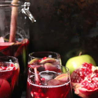 Autumn Sangria with Apples, Pomegranate and Blackberries Recipe