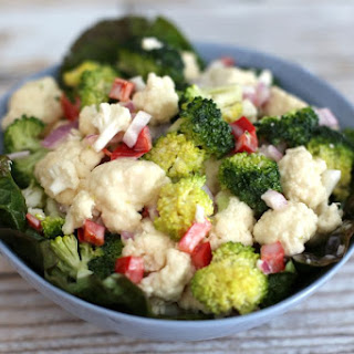 Cauliflower and Broccoli Salad With Mayonnaise Dressing.