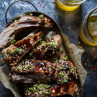 Slow Cooker Asian-Style Ribs with Sesame-Citrus Sprinkle.