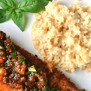 Crispy Snapper with Spicy Basil Sauce.