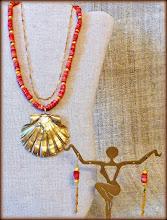 Photo: #173 THE ASCENSION OF VENUS ~ ВОЗНЕСІННЯ ВЕНЕРИ Reversible gilded shell pendant, coral, gold plate, 14K gold vermeil $110/set