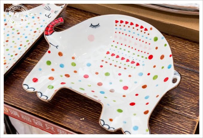 歐美創意手繪動物造型陶瓷盤-大象