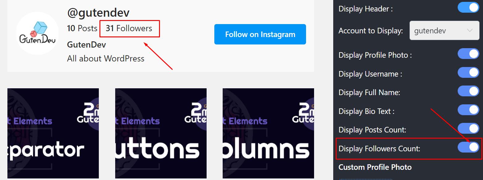Display followers count Instagram settings