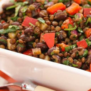 Black Bean and Lentil Salad Recipe with Red Bell Pepper, Cumin, and Cilantro.