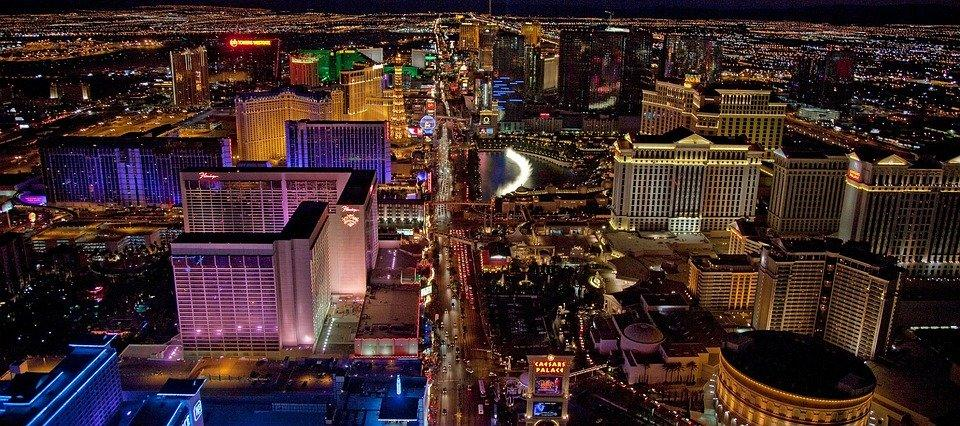 as Vegas, Aerial View, Night, Nevada, Cityscape