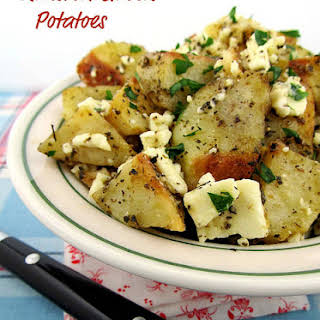 Roasted Greek Potatoes with Feta Cheese and Lemon.