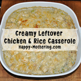 Creamy Leftover Chicken & Rice Casserole.