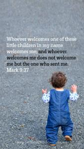 Bible Verses About Children Mobile Wallpaper Mark 9-37 Thumbnail