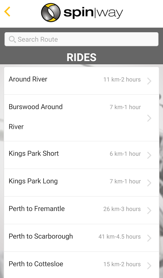 Spinway Cycling App- screenshot