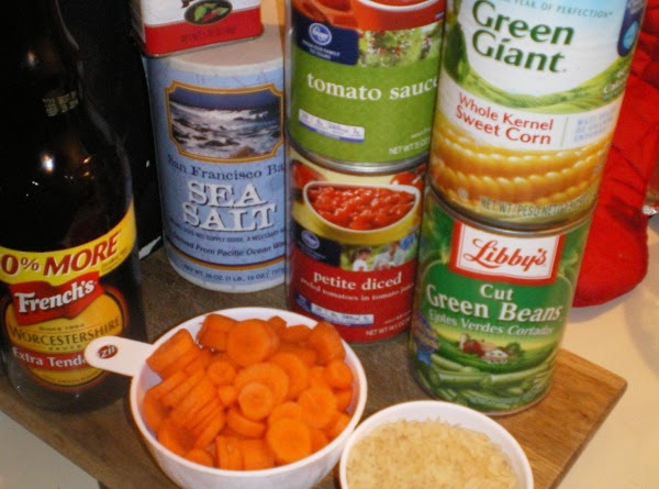 Add, tomato sauce, tomatoes, water, salt and pepper, Worcestershire sauce, beef base, bay leaf,...