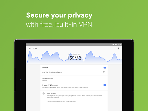 Opera with free VPN image | 10