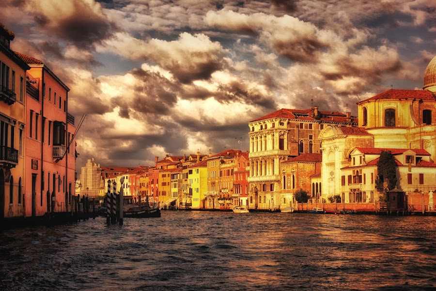 Venice by Pete Douglass - Digital Art Places ( hdr, grand canal, dramatic, venice, italy )