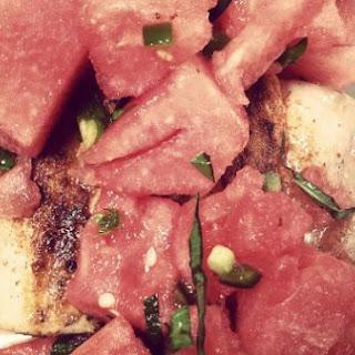 Spicy Watermelon Salad with Grilled Mahi Mahi