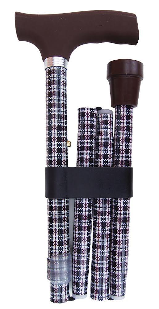 Käpp hopfällbar - mörkrutig med brunt handtag