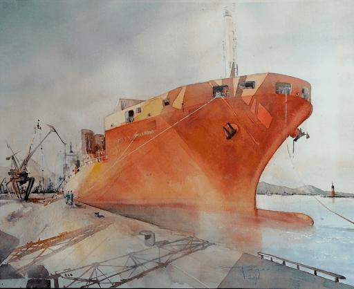 aquarelles _ Jeanne PAPA_ port de Naples 2018_ détail