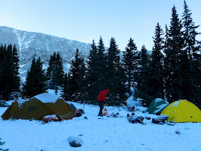 Photo: Sunday morning dawned clear which was completely opposite the forecast for the area. The night's low was likely close to 8 degrees but the three of us stayed plenty warm in Jeff's cozy three-person Moss tent