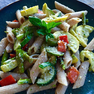 Roasted Vegetable Pasta with Basil Pesto.