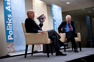 """Photo: Kent Kresa interviews Harold Brown about his new book, """"Star-Spangled Security Applying Lessons Learned Over Six Decades Safeguarding America,"""" Saturday, Nov. 17 at the RAND Politics Aside event in Santa Monica."""
