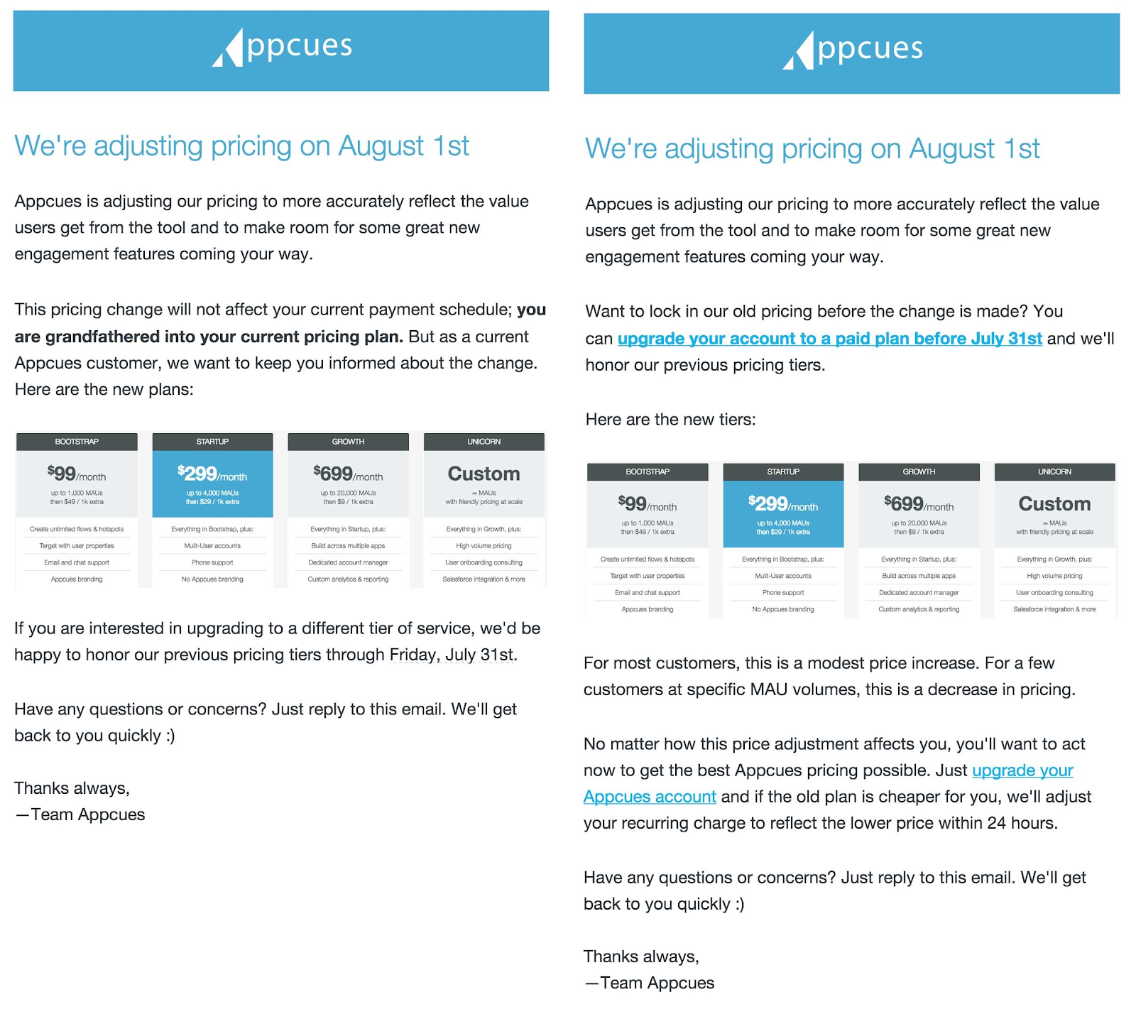 appcues emails sent to customers about price increases.