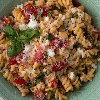 Pasta with Goat Cheese, Tomatoes, and Crispy Garlic.