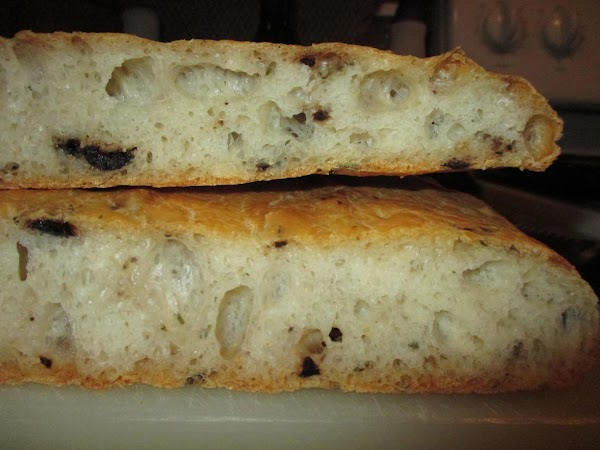 The result is a chewy focaccio with an open crumb (plenty of bubbles), to...