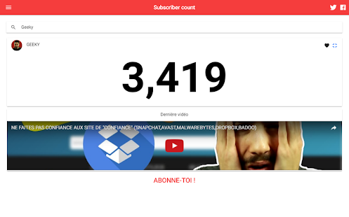 Subscriber count for YouTube - Subscriber count- screenshot thumbnail