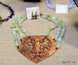 Photo: <BEREHYNYA> {Great Goddess Protectress} unique one-of-a-kind statement jewellery by Luba Bilash ART & ADORNMENT  #105 - ROMAN HAPSBURG DYNASTY ~ РИМСЬКА ДИНАСТІЯ <ГАБСБУРГ> - copper Hapsburg coat-of-arms pendant; new jade; agate; copper; rose gold vermeil $180/set
