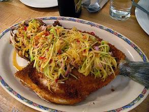 Photo: crispy bass with green mango salad