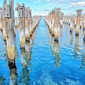 Into The Horizon by Glen John Terry  - Buildings & Architecture Decaying & Abandoned ( reflection, pier, horizon, sea,  )