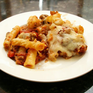 Baked Ziti With Ground Beef and Cheese.