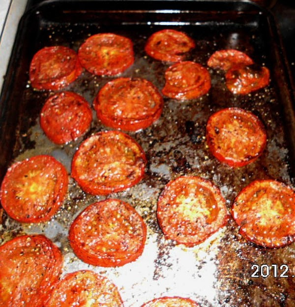 Slice tomatoes and roast in oven or skillet till tender.  Season with your...