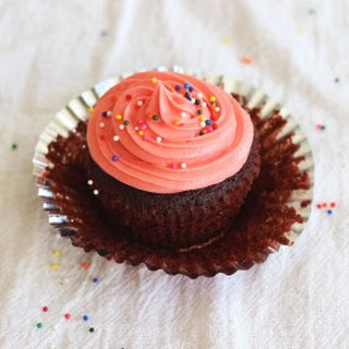 Milk Chocolate Cupcakes with (Pink!) Cream Cheese Frosting
