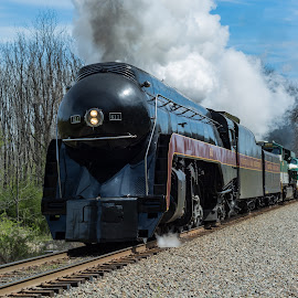 Steam Engine by Larry Pinkerton - Transportation Trains ( steam engine, class j, outdoors, train, smoke )