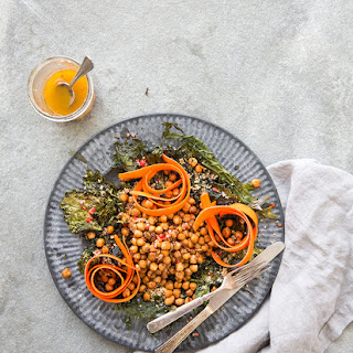 Spicy Chickpea + Crispy Kale Salad With Marinated Carrots