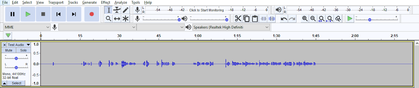 Audio file displayed in Audacity
