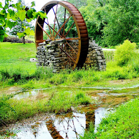 Grist Mill by Keri Butcher - Novices Only Landscapes ( water, wheel, grist mill, wheels, creek, streams )