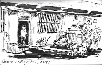 Photo: 倒餿水2011.07.30鋼筆 炊場的後門開了,收容人七手八腳地將一桶桶的厨餘往餿水車裡倒,三千人的監獄,可以想像,一餐會剩多少厨餘…