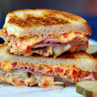 Grilled Pimento Cheese, Ham, and Homemade Pickles Sandwich.