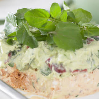 Layered Salmon and Avocado Dip.