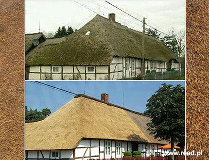 Zdjęcię budynku przed wymianą dachu trzcinowego i po wymianie