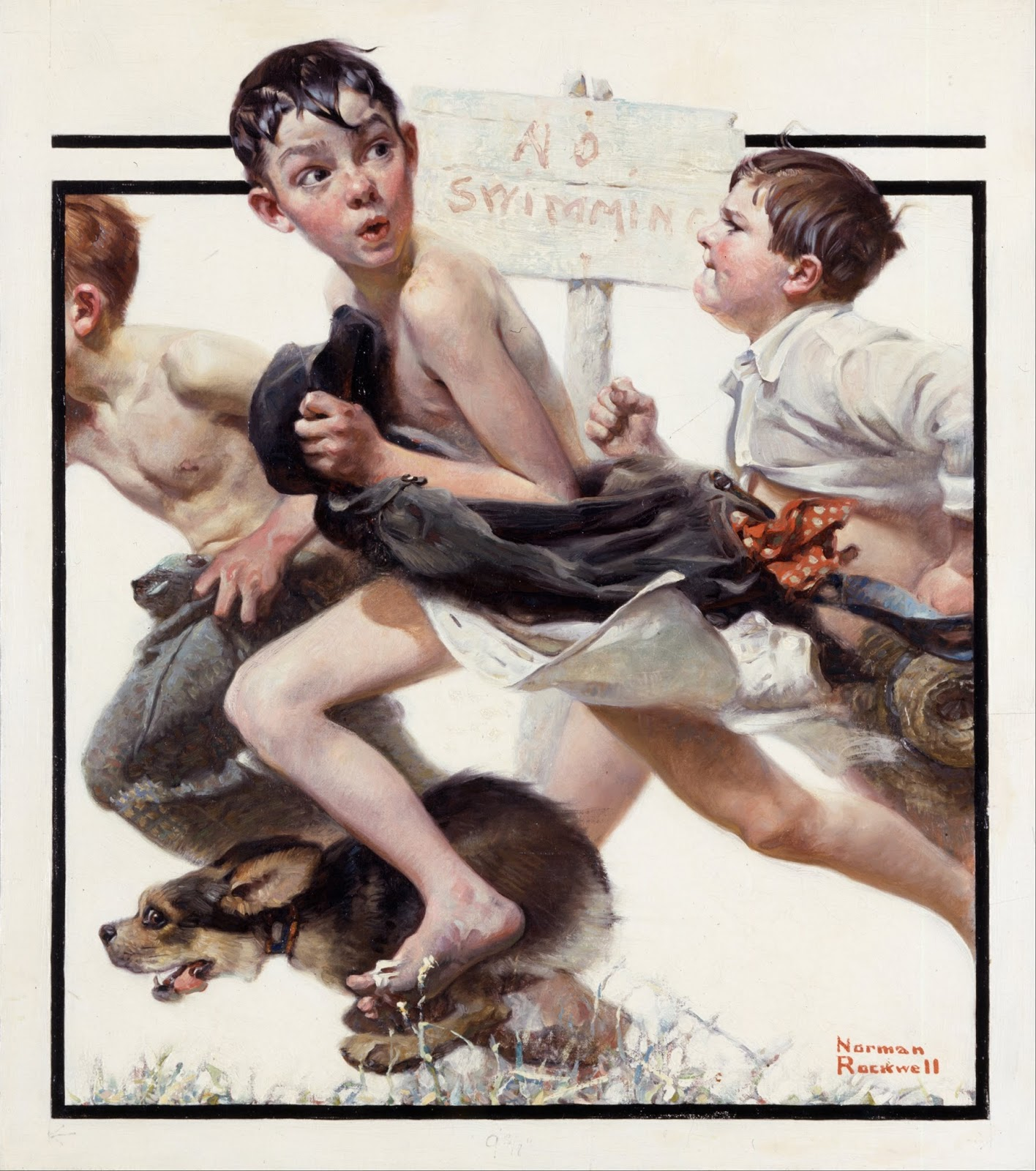 No Swimming Norman Rockwell