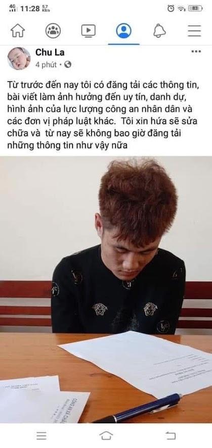 Vi Văn Thiệt xin lỗi lực lượng CAND lên Facebook của mình