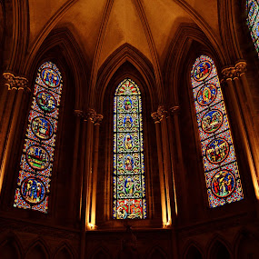 Stained glass windows. by John Canning - Buildings & Architecture Places of Worship ( , building, interior, worship )