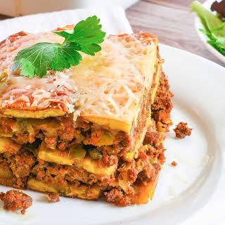 """Pastelón (Puerto Rican Plantain """"Lasagna"""")."""