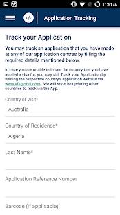 VFS Global App - náhled