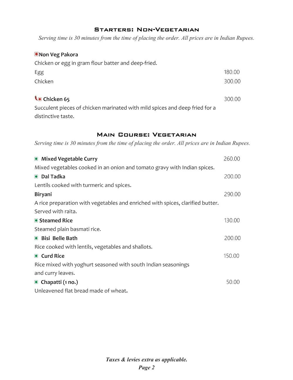 Cafe @ Elanza menu 1